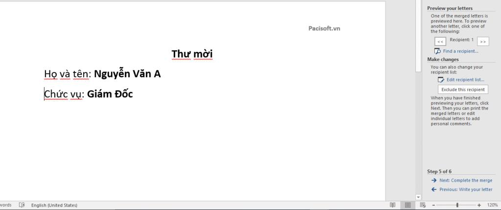 Mail merge trong microsoft word