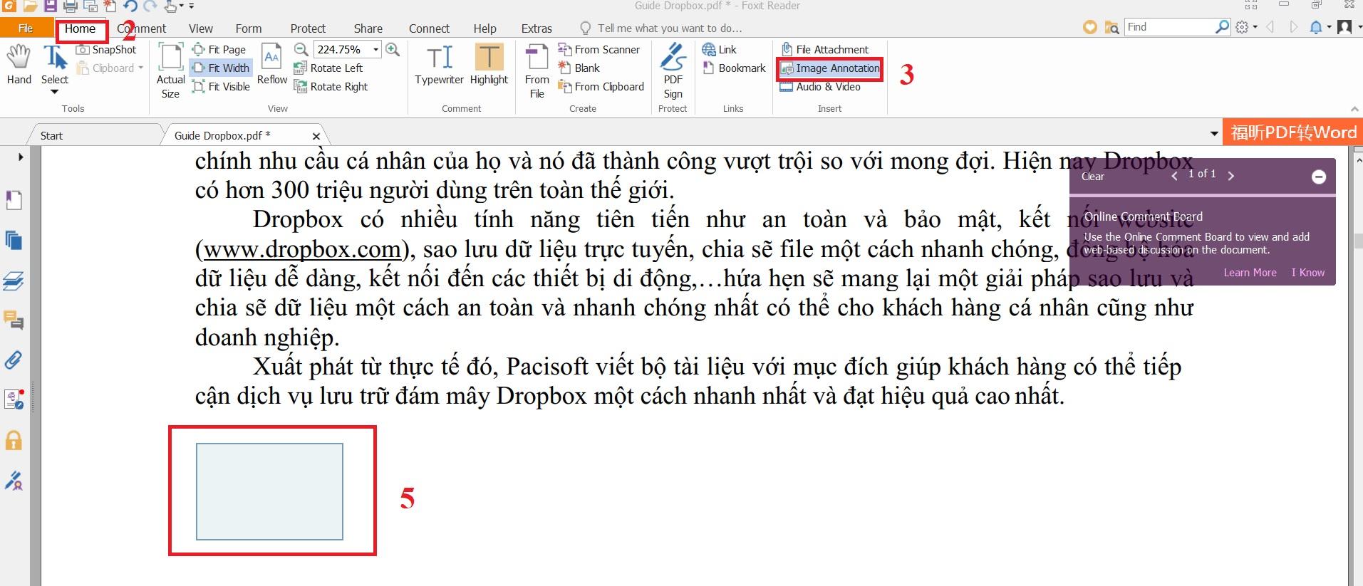 Cách chèn ảnh vào tập tin PDF trong Foxit Reader