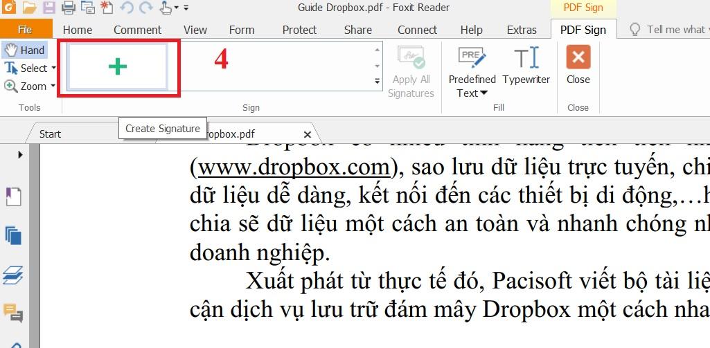 Cách tạo chữ ký tập tin PDF trong Foxit Reader