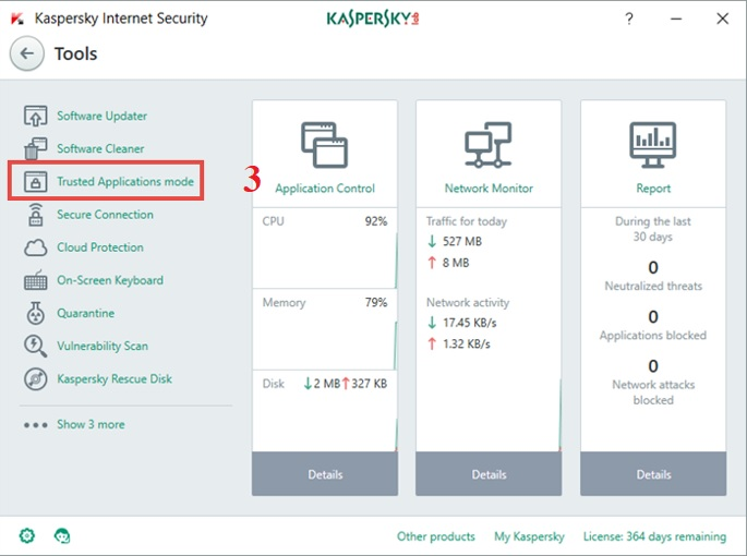 Hướng dẫn bật Trusted Application trong Kaspersky Internet Security