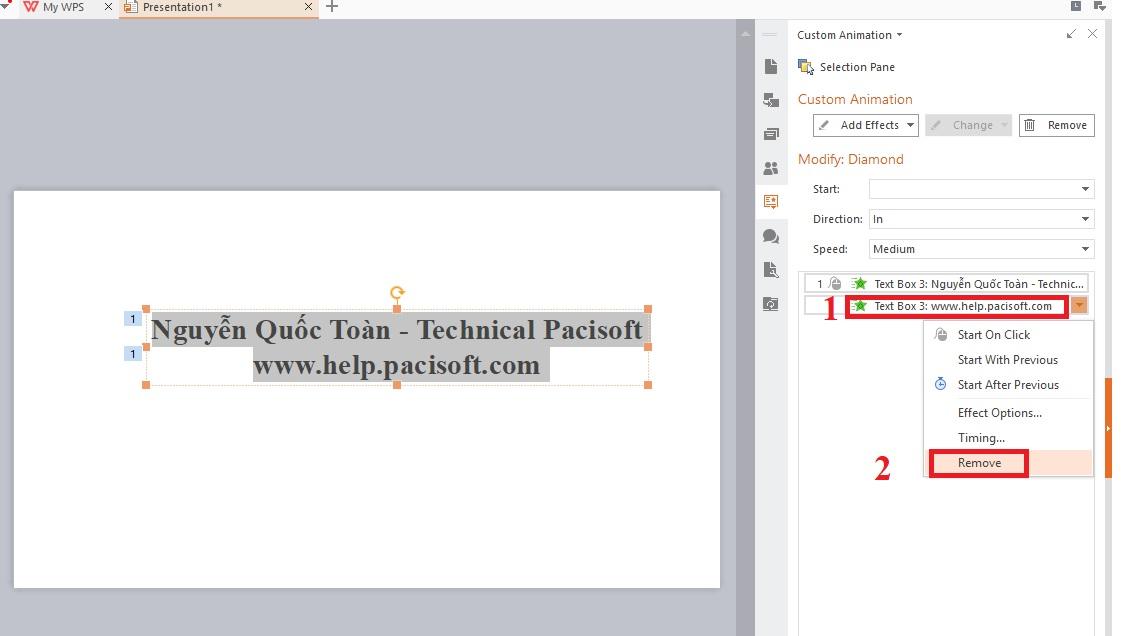 Hướng dẫn tạo hiệu ứng trong WPS Presentation