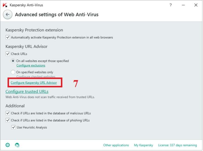 Hướng dẫn cấu hình Web Anti-Virus trong Kaspersky Anti-Virus