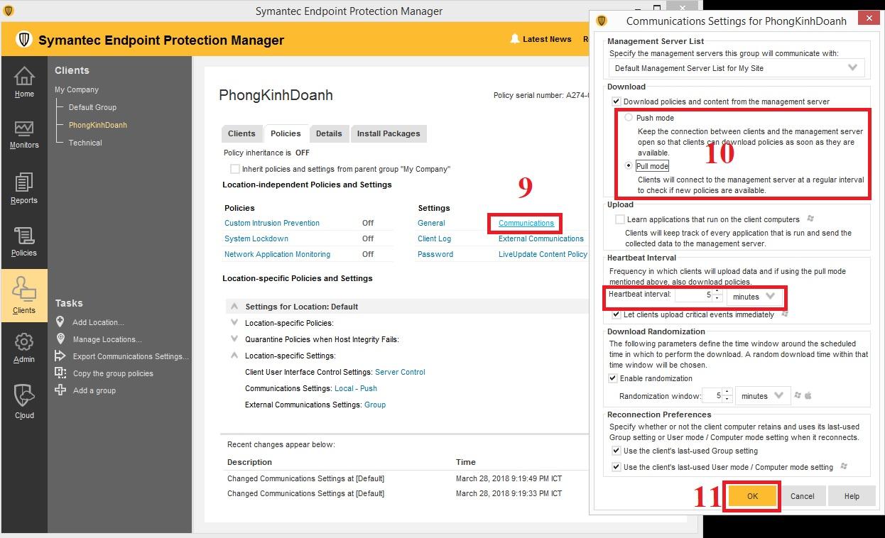 Cấu hình chế độ update policies cho location trong Symantec