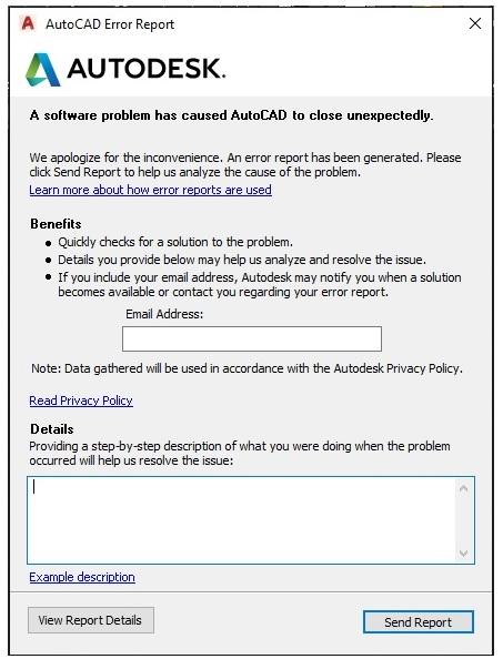 "Khắc phục lỗi ""FATAL ERROR: Unhandled e06d7363h Exception"" trong AutoCAD"