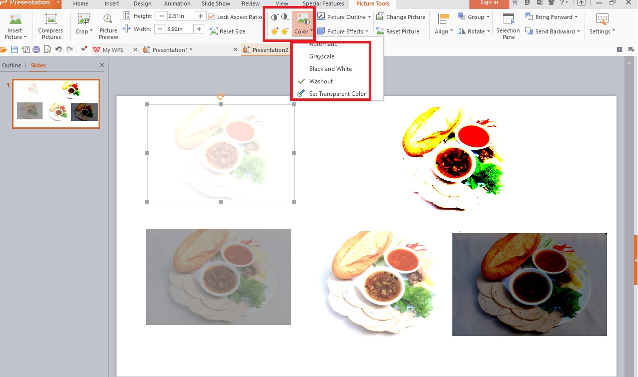Hướng dẫn sử dụng Picture Tools trong WPS Presentation