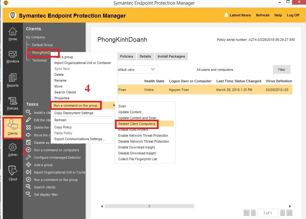 Hướng dẫn restart client bằng Symantec Endpoint Protection Manager