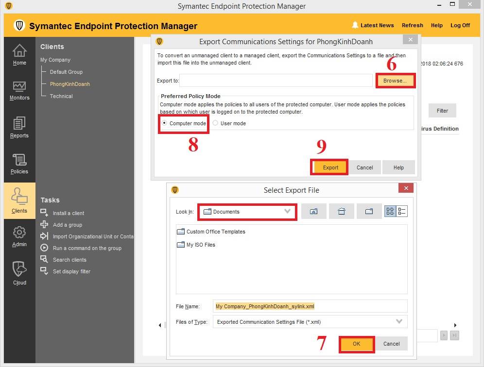 Cách xuất flie Sylink.xml trong Symantec Endpoint Protection