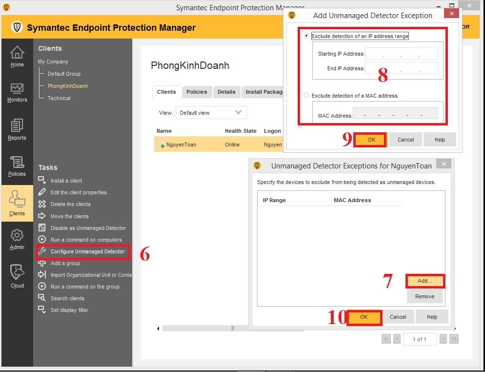 Cấu hình client phát hiện thiết bị trái phép trong Symantec