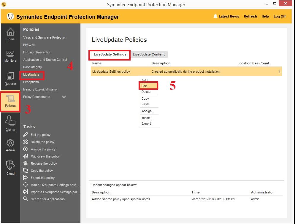 Cấu hình proxy để client giao tiếp với Symantec LiveUpdate