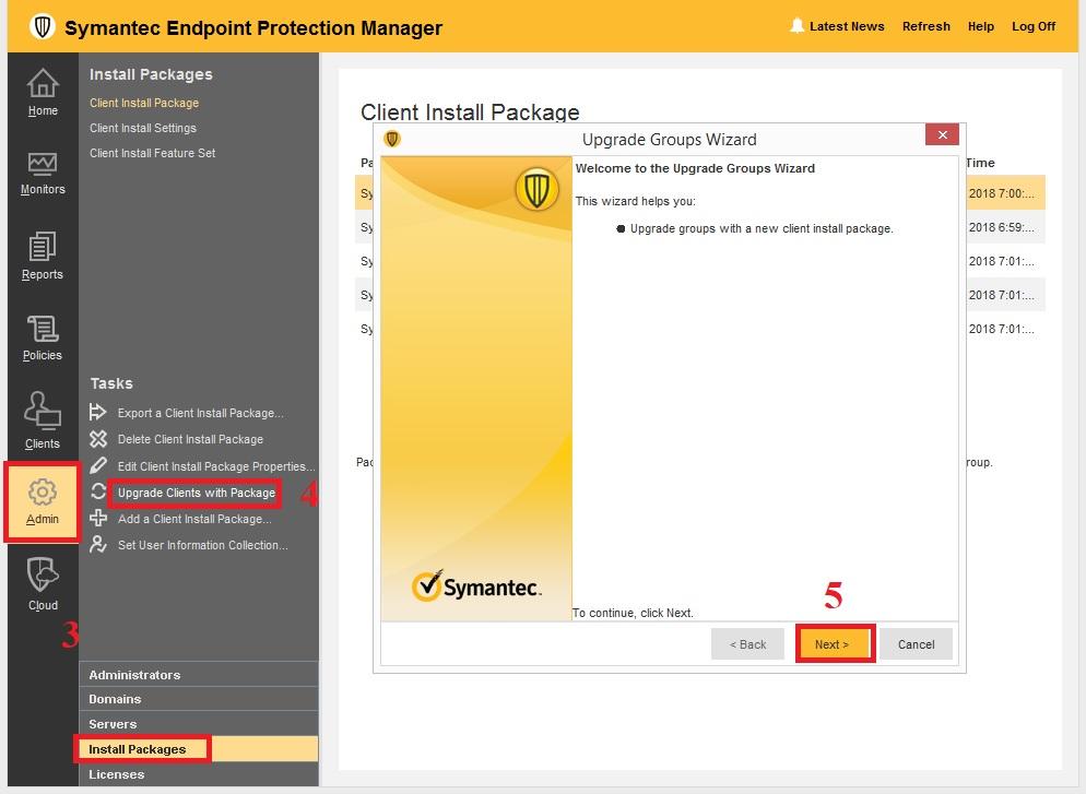 Hướng dẫn AutoUpgrade trong Symantec Endpoint Protection
