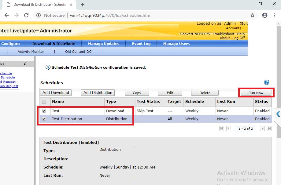 Cấu hình Symantec LiveUpdate Administrator